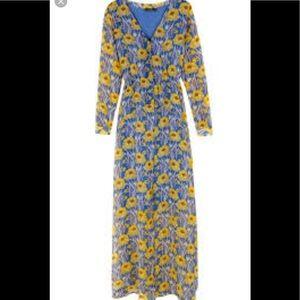 Massimo Dutti beautiful long blue floral dress
